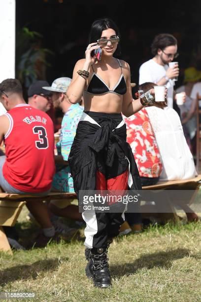 Dua Lipa seen at Glastonbury Festival 2019 on June 28, 2019 in Glastonbury, England.