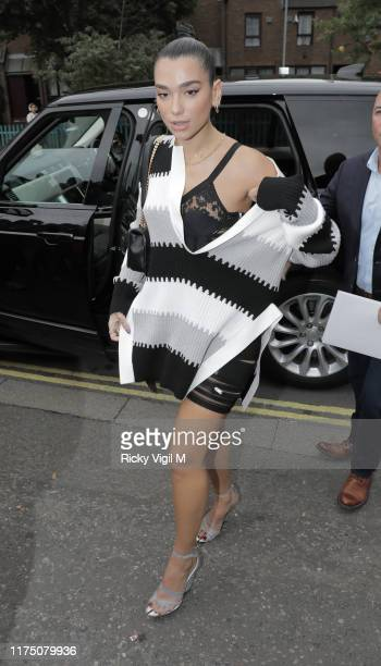 Dua Lipa seen attending Burberry catwalk show held at Troubadour White City City Theatre during LFW September 2019 on September 16 2019 in London...