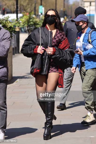 Dua Lipa seen leaving BBC Radio One after her Live Lounge performance on April 19, 2021 in London, England.