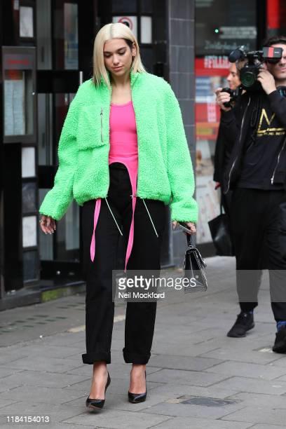 Dua Lipa seen leaving Capital Breakfast Radio Studios on October 29 2019 in London England