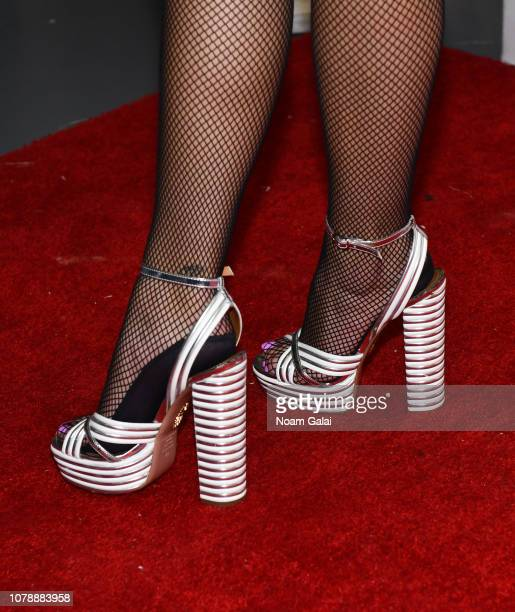 Dua Lipa shoe detail attends Z100's Jingle Ball 2018 at Madison Square Garden on December 07 2018 in New York City