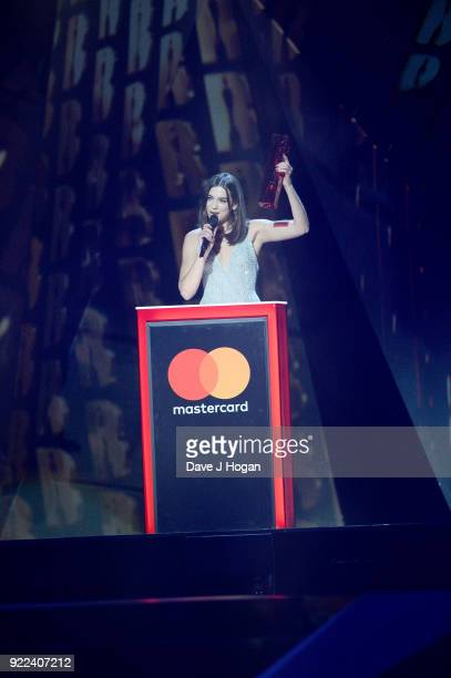 AWARDS 2018 *** Dua Lipa speaks on stage at The BRIT Awards 2018 held at The O2 Arena on February 21 2018 in London England