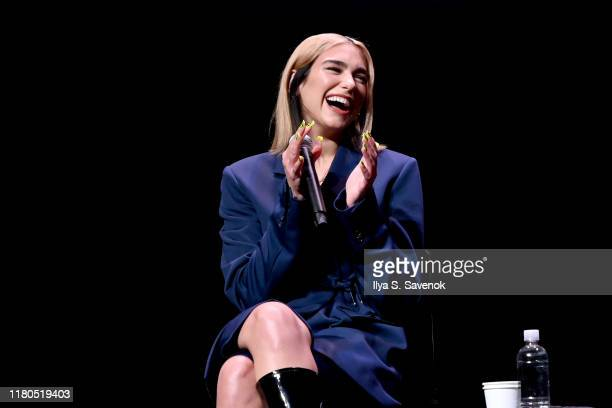 Dua Lipa speaks onstage during a talk with Amanda Petrusich at the 2019 New Yorker Festival on October 11 2019 in New York City