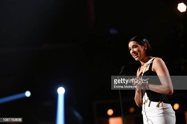 Dua Lipa speaks onstageduring the 61st Annual GRAMMY Awards at Staples Center on February 10 2019 in Los Angeles California