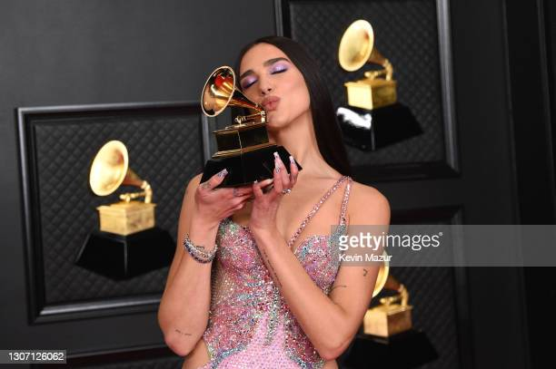 Dua Lipa, winner of Best Pop Vocal Album for 'Future Nostalgia', poses in the media room during the 63rd Annual GRAMMY Awards at Los Angeles...