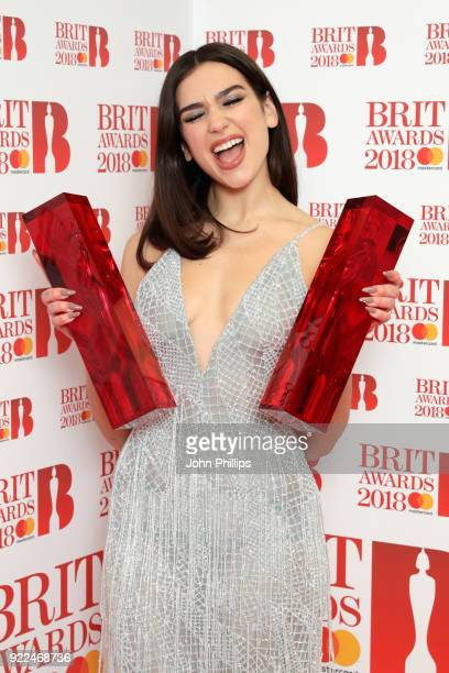 AWARDS 2018*** Dua Lipa winner of the British Female Solo Artist and British Breakthrough act awards poses in the winners room during The BRIT Awards...