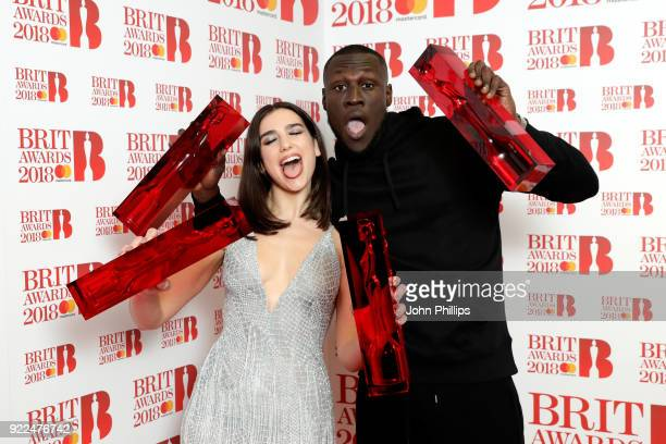AWARDS 2018*** Dua Lipa winner of the British Female Solo Artist and British Breakthrough act awards and Stormzy winner of the British Album of the...
