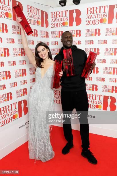 AWARDS 2018*** Dua Lipa winner of the British Female Solo Artist and British Breakthrough act awards and Stormzy winner of the British Album of the...