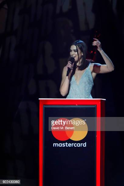 AWARDS 2018 *** Dua Lipa winner of the British Female Solo Artist award attends The BRIT Awards 2018 held at The O2 Arena on February 21 2018 in...