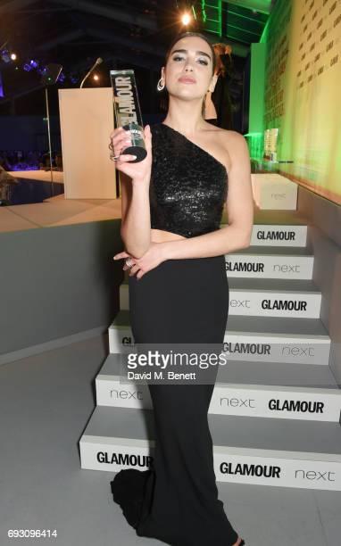 Dua Lipa winner of the Next Breakthrough award attends the Glamour Women of The Year Awards 2017 in Berkeley Square Gardens on June 6 2017 in London...