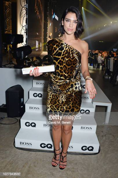 Dua Lipa winner of the Solo Artist of the Year award attends the GQ Men of the Year Awards 2018 in association with HUGO BOSS at Tate Modern on...