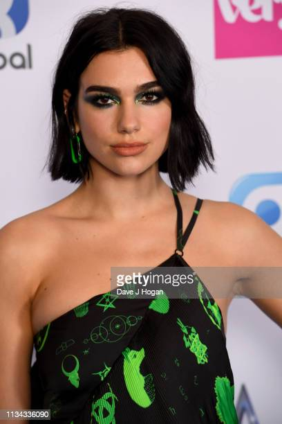 Dua Lipa wins the Best British Artist and Best Female Award at the The Global Awards with Verycouk at Eventim Apollo Hammersmith on March 07 2019 in...