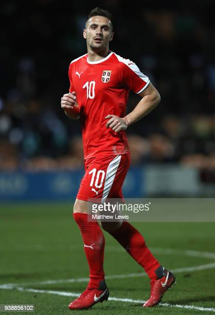 Dušan Tadic of Serbia in action during the International Friendly match between Nigeria and Serbia at The Hive on March 27 2018 in Barnet England