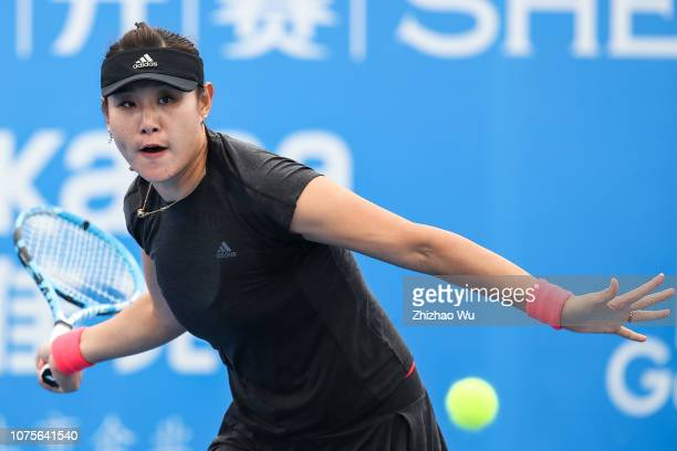 Duan Yingying of China in action against Anna Blinkova of Russia during 2019 WTA Shenzhen Open Qualifying at Shenzhen Longgang Sports Center on...