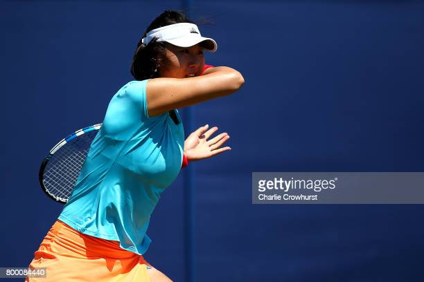 Duan YingYing of China in action during her women's qualifying match against Katy Dunne of Great Britain during qualifying on day one of the Aegon...
