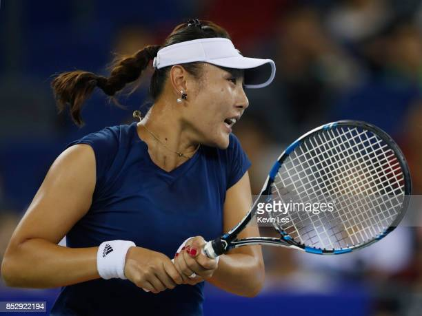 Duan Yingying of China returns a shot to Elena Vesnina of Russia during their match in first round on Day 1 of 2017 Wuhan Open on September 24 2017...
