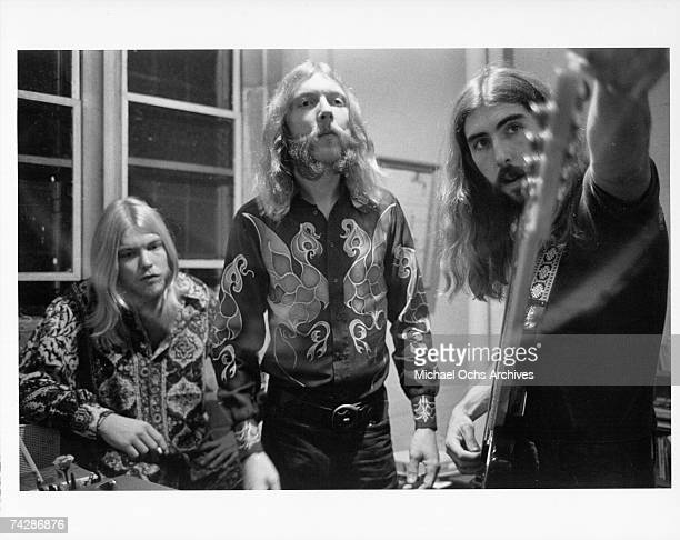 Duane Allman Greg Allman and Berry Oakley backstage before the Allman Brothers' performance at the Sitar on October 17 1970 in Spartanburg South...