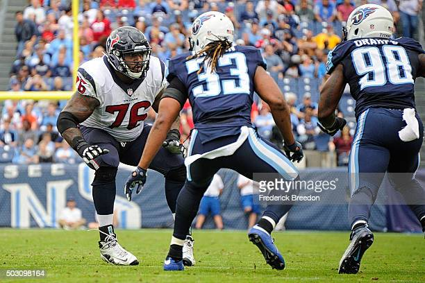 Duane Brown of the Houston Texans plays against the Tennessee Titans at Nissan Stadium on December 27, 2015 in Nashville, Tennessee.
