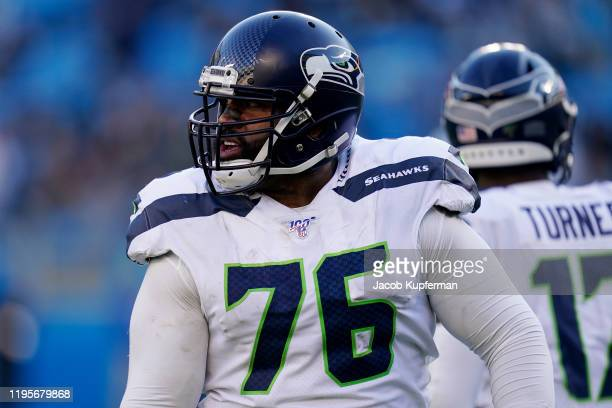 Duane Brown of the Seattle Seahawks during the second half during their game against the Carolina Panthers at Bank of America Stadium on December 15,...