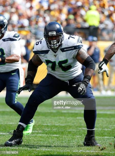 Duane Brown of the Seattle Seahawks in action against the Pittsburgh Steelers on September 15, 2019 at Heinz Field in Pittsburgh, Pennsylvania.
