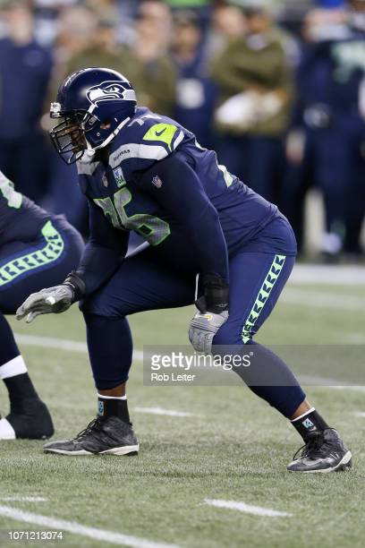 Duane Brown of the Seattle Seahawks in action during the game against the Green Bay Packers at CenturyLink Field on November 15, 2018 in Seattle,...