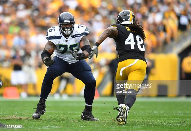 Duane Brown of the Seattle Seahawks in action during the game against the Pittsburgh Steelers at Heinz Field on September 15, 2019 in Pittsburgh,...