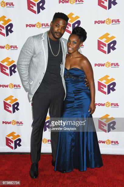 Duane Henry and Alechia Reese PR Director for PowHERful attends the PowHERful Benefit Gala on June 13 2018 at Tribeca Rooftop in New York City