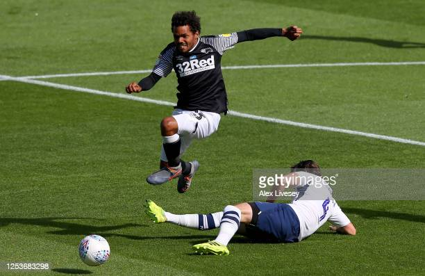 Duane Holmes of Derby County is challenged by Ben Pearson of Preston North End during the Sky Bet Championship match between Preston North End and...