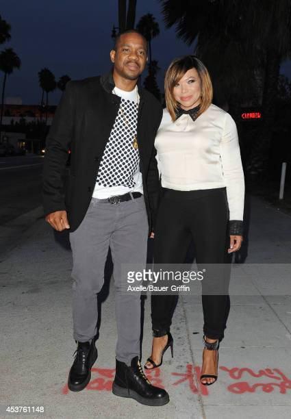Duane Martin and actress Tisha Campbell attend Vivica A Fox's 50th birthday celebration at Philippe Chow on August 2 2014 in Beverly Hills California