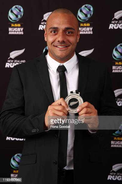 Duane Monkley Medal winner Chase Tiatia of Bay of Plenty poses for a photograph during the New Zealand Rugby Awards at the Sky City Convention Centre...