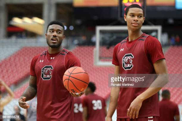 Duane Notice and PJ Dozier of the South Carolina Gamecocks practice ahead of the 2017 NCAA Men's Basketball Final Four at University of Phoenix...