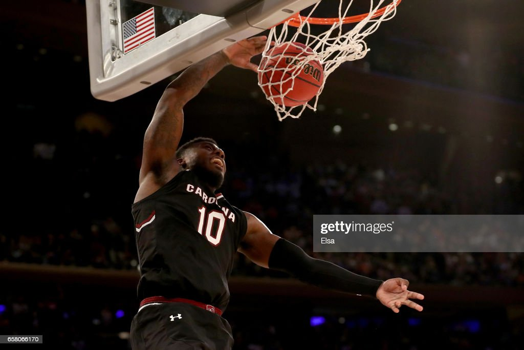 Duane Notice #10 of the South Carolina Gamecocks dunks the ball against the Florida Gators late in the second half during the 2017 NCAA Men's Basketball Tournament East Regional at Madison Square Garden on March 26, 2017 in New York City.