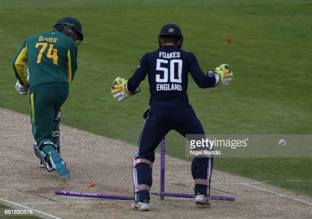 Duane Olivier of South Africa A is bowled out by Liam Dawson of England Lions during the One Day International match between England Lions and...
