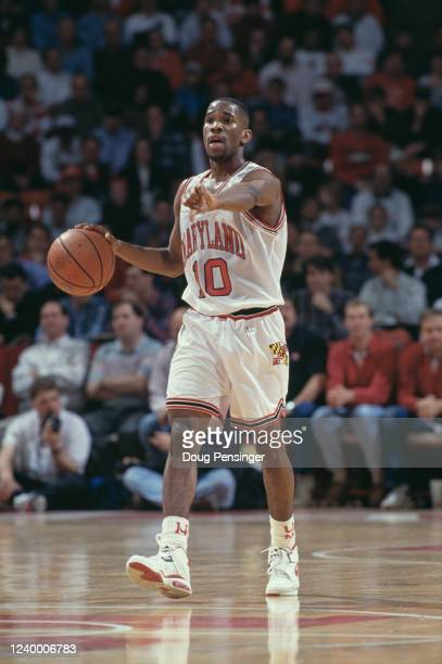 Duane Simpkins Guard for the University of Maryland Terrapins calls the play with a thumbs down signal during the NCAA Atlantic Coast Conference...