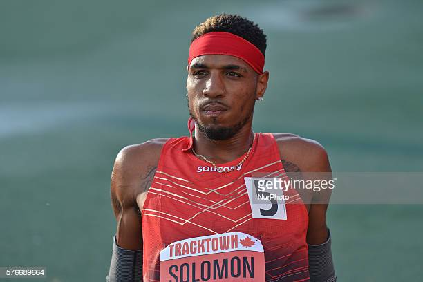Duane Solomon from USA wins Men 800 M in 14551 ahead of Canada's Anthony Romaniw at Track Town Classic at the University of Albertas Foote Field in...