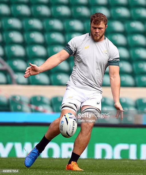 Duane Vermeulen during the South African national rugby team Captains Run at Twickenham Stadium on October 23 2015 in London England