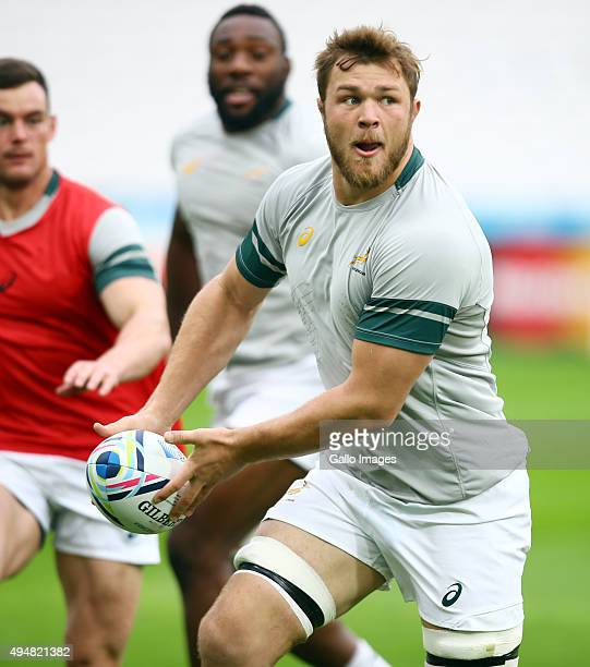 Duane Vermeulen during the South African national rugby team Captains Run and Media Conference at Olympic Stadium on October 29 2015 in London England