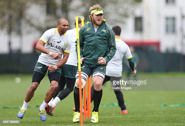 Duane Vermeulen during the South African National rugby team training session at Latymer Upper School Sports Grounds on November 11 2014 in London...