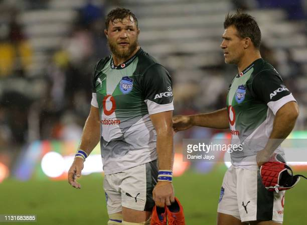 Duane Vermeulen of Bulls and Schalk Brits of Bulls react at the end of the Super Rugby Rd 2 match between Jaguares and Bulls at Jose Amalfitani...