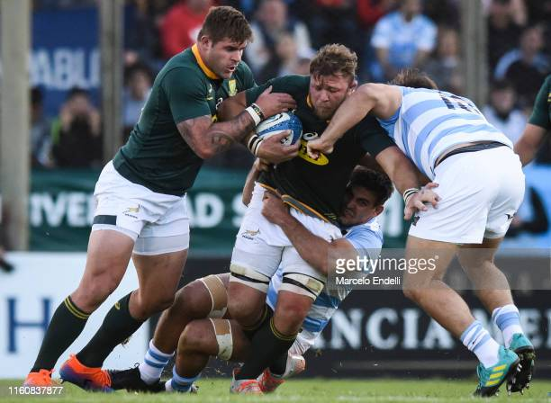 Duane Vermeulen of South Africa is tackled by Matias Moroni of Argentina during a match between Argentina and South Africa as part of The Rugby...