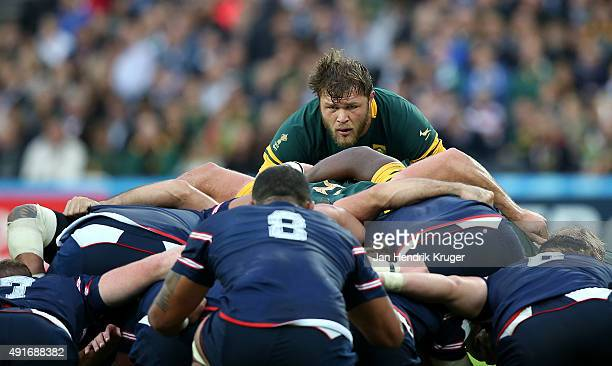 Duane Vermeulen of South Africa looks on from behind the scrum during the 2015 Rugby World Cup Pool B match between South Africa and USA at Olympic...
