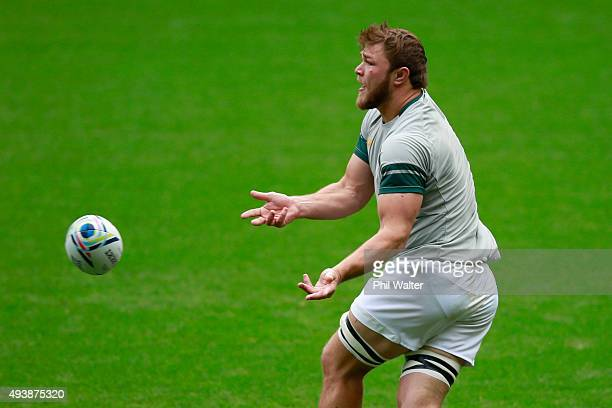 Duane Vermeulen of South Africa passes during a South Africa Captain's Run at Twickenham Stadium on October 23 2015 in London United Kingdom