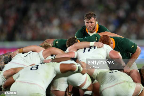 Duane Vermeulen of South Africa prepares for a scrum during the Rugby World Cup 2019 Final between England and South Africa at the International...