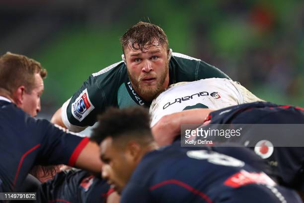Duane Vermeulen of the Bulls looks on during a scrum during the round 14 Super Rugby match between the Rebels and Bulls at AAMI Park on May 17 2019...