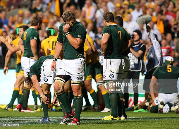 Duane Vermeulen of the Springboks appears dejected after Ben Alexander of the Wallabies crossed for a try during Rugby Championship match between the...