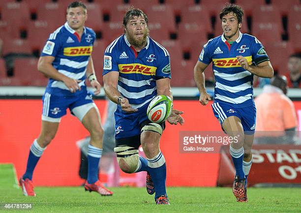 Duane Vermeulen of the Stormers passes the ball during the Super Rugby match between Emirates Lions and DHL Stormers at Emirates Airline Park on...