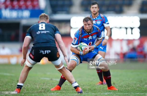 Duane Vermeulen of the Vodacom Bulls charges upfield during the Super Rugby match between Cell C Sharks and Vodacom Bulls at Jonsson Kings Park on...