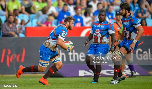 Duane Vermeulen of the Vodacom Bulls on the attack during the Super Rugby match between Vodacom Bulls and DHL Stormers at Loftus Versfeld on February...