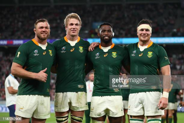 Duane Vermeulen PieterSteph Du Toit Siya Kolisi and Francois Louw of South Africa pose for a photo following during the Rugby World Cup 2019 Quarter...