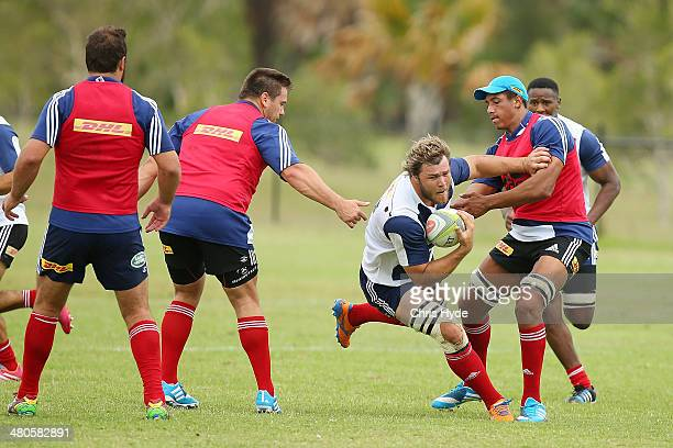 Duane Vermeulen runs the ball during a Stormers Super Rugby training session at Sanctuary Cove on March 26 2014 in Gold Coast Australia